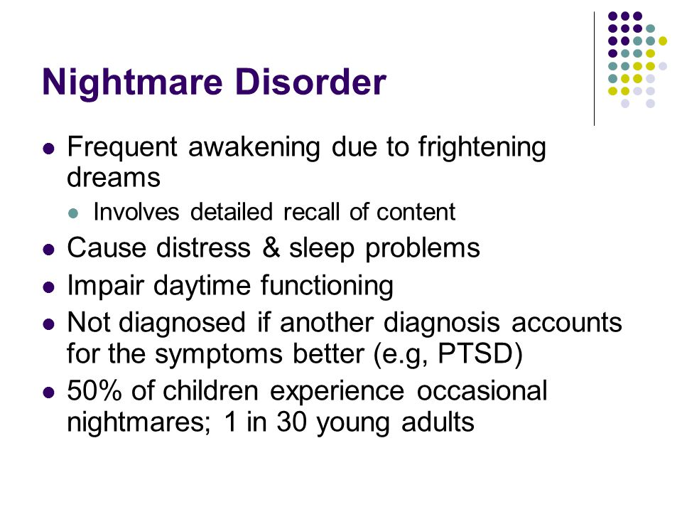 Exploring causes of sleep difficulty and dreaming problems
