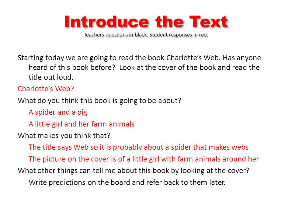 Introduce the Text Teachers questions in black