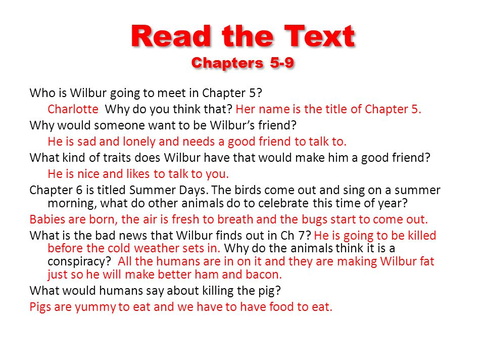 Read the Text Chapters 5-9