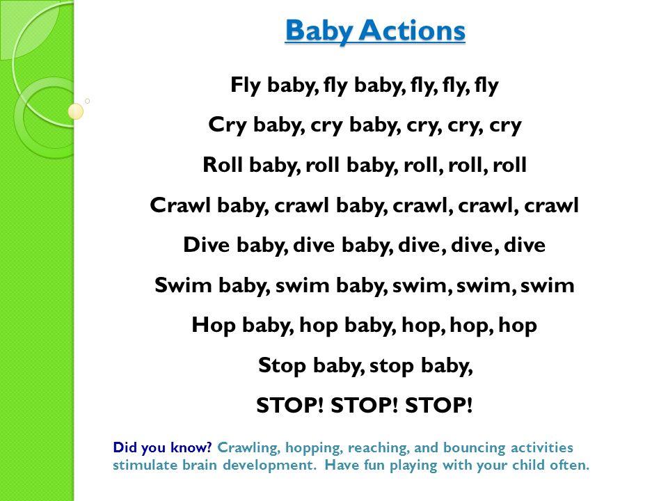 Baby Actions Fly baby, fly baby, fly, fly, fly