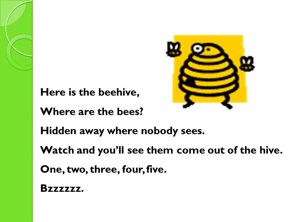 Here is the beehive, Where are the bees Hidden away where nobody sees. Watch and you'll see them come out of the hive.