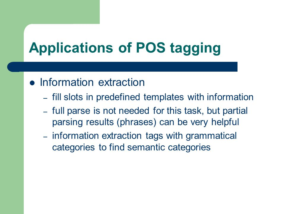 Applications of POS tagging