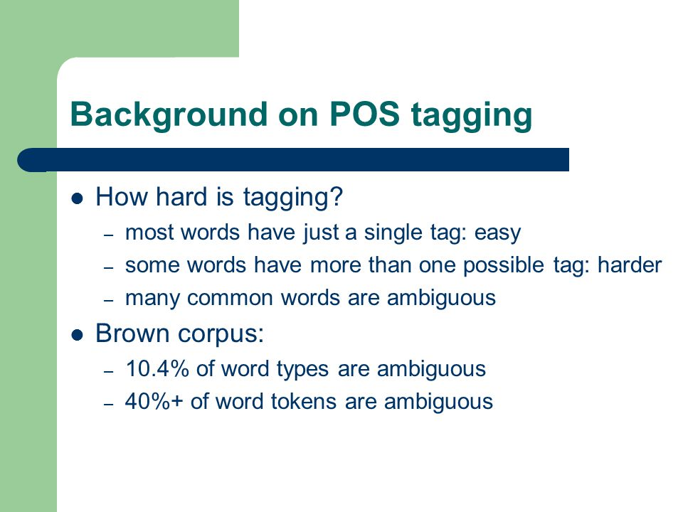 Background on POS tagging