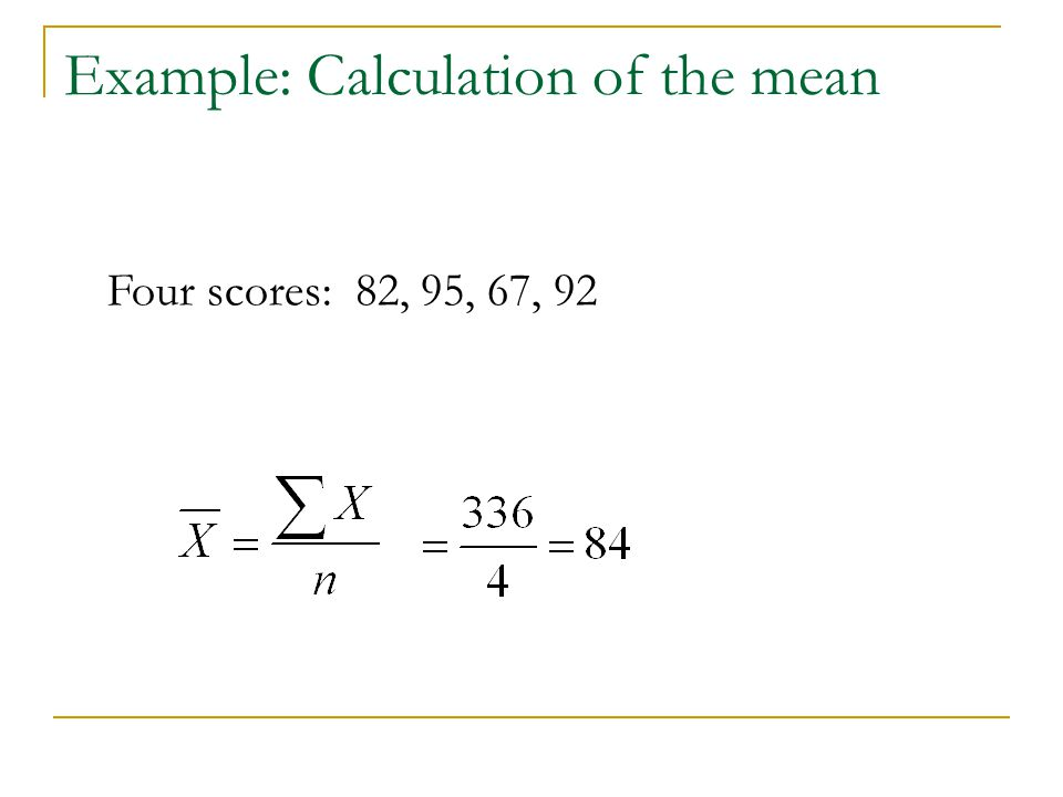 Example: Calculation of the mean