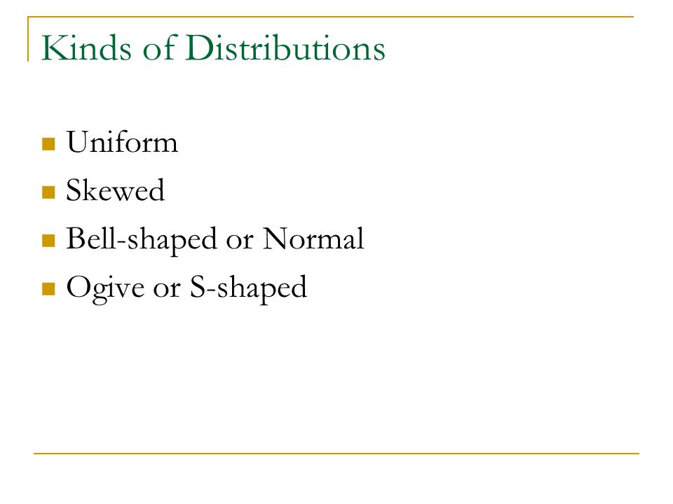 Kinds of Distributions