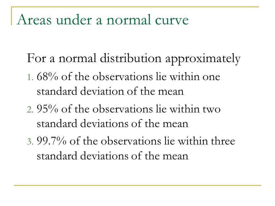 Areas under a normal curve