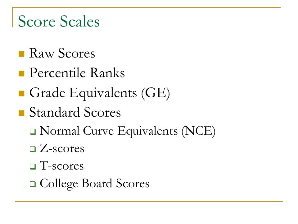 Score Scales Raw Scores Percentile Ranks Grade Equivalents (GE)