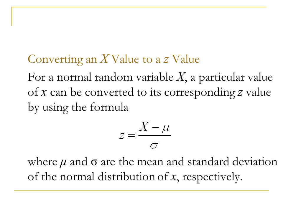 Converting an X Value to a z Value
