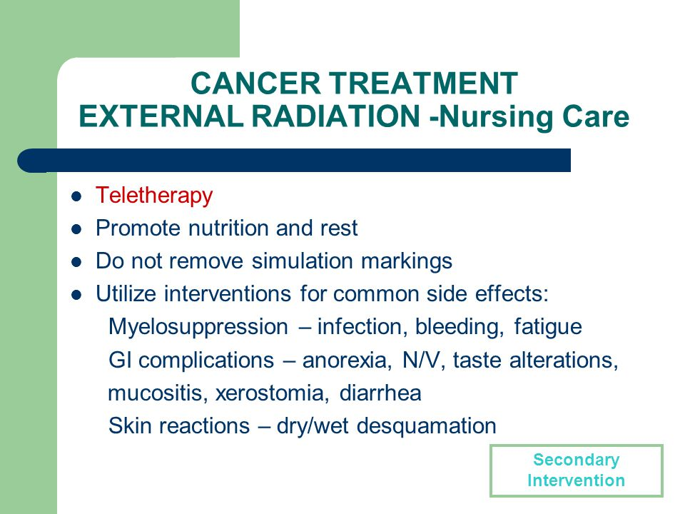 nursing diagnosis for radiation therapy Approximately two weeks after your first treatment you may begin to experience side effects, or symptoms caused by radiation therapy these symptoms may continue throughout the treatment.