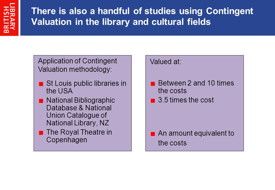 There is also a handful of studies using Contingent Valuation in the library and cultural fields