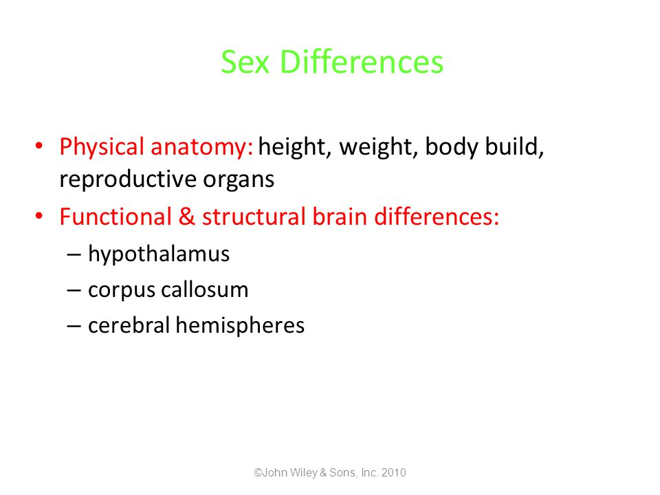 Sex Differences Physical anatomy: height, weight, body build, reproductive organs. Functional & structural brain differences: