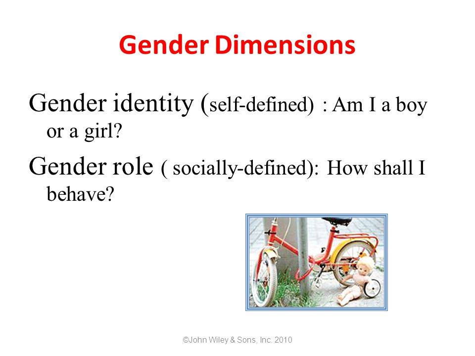Gender Dimensions Gender identity (self-defined) : Am I a boy or a girl Gender role ( socially-defined): How shall I behave
