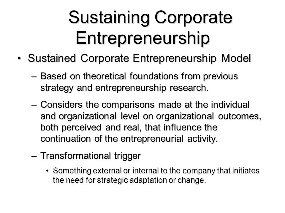 corporate entrepreneurship 2 essay Get access to entrepreneurship essays only from anti essays offers essay examples to help students with corporate entrepreneurship is often looked at as a.