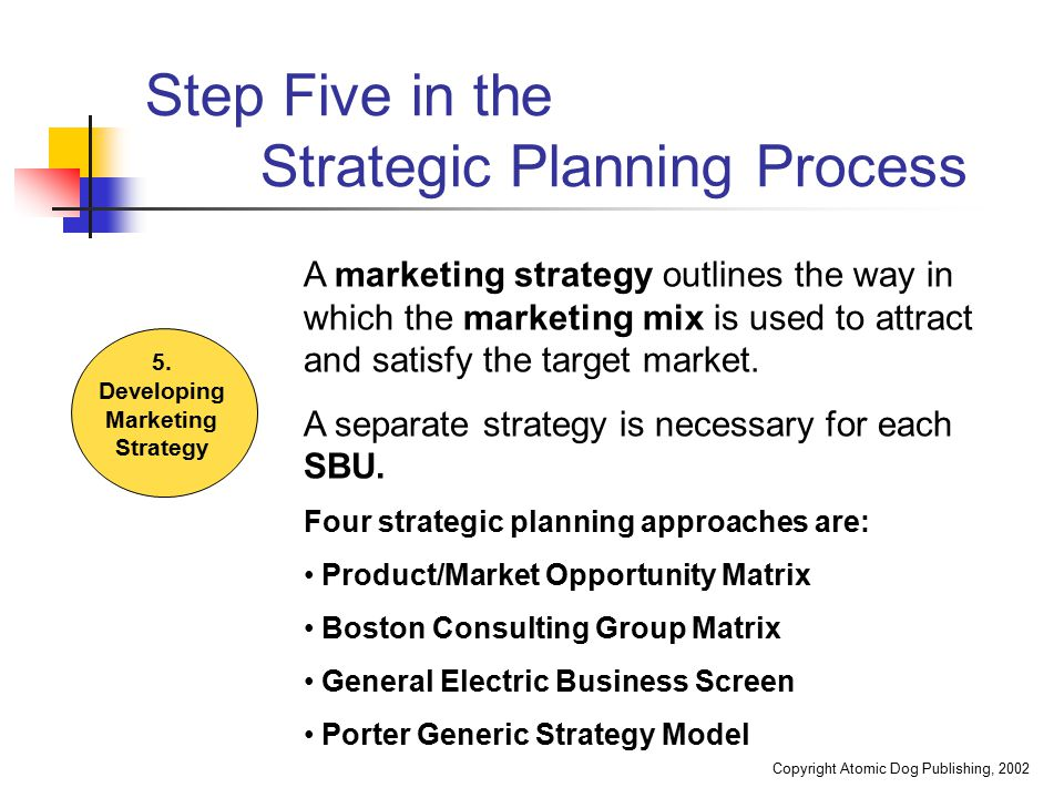Step Five in the Strategic Planning Process