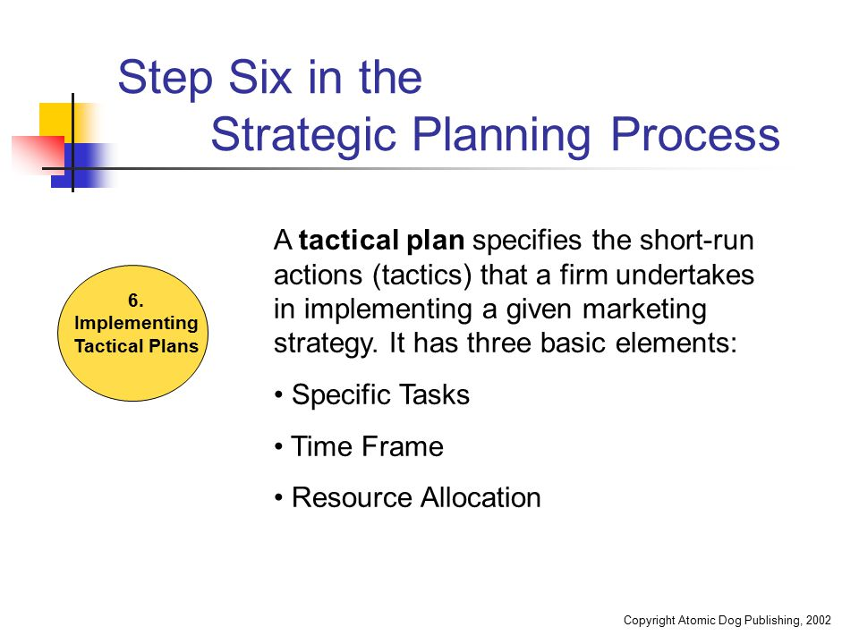 Step Six in the Strategic Planning Process