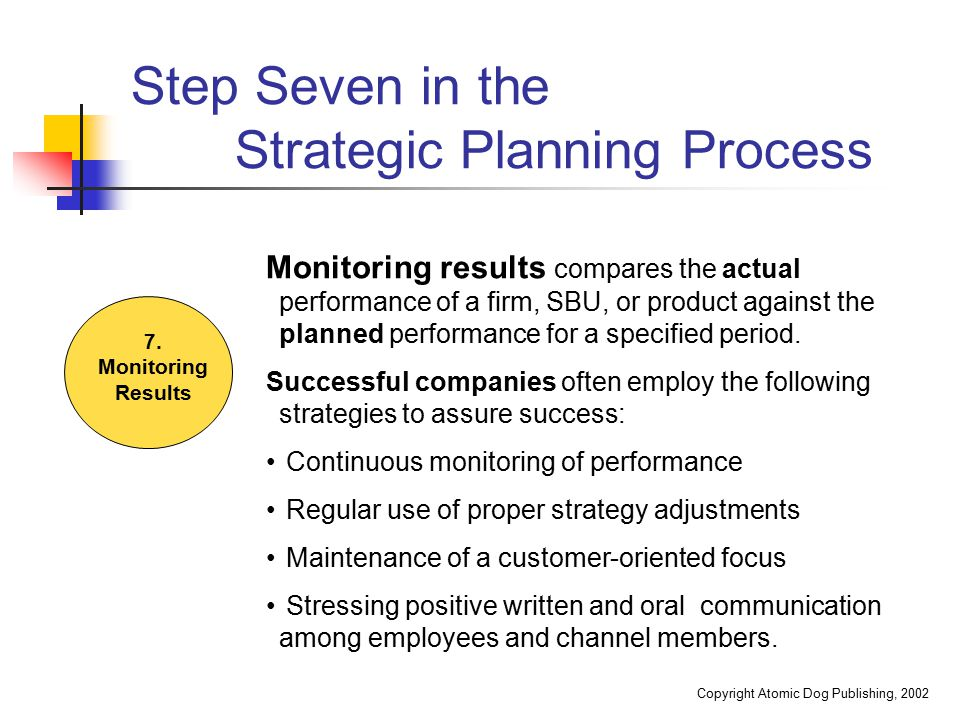Step Seven in the Strategic Planning Process