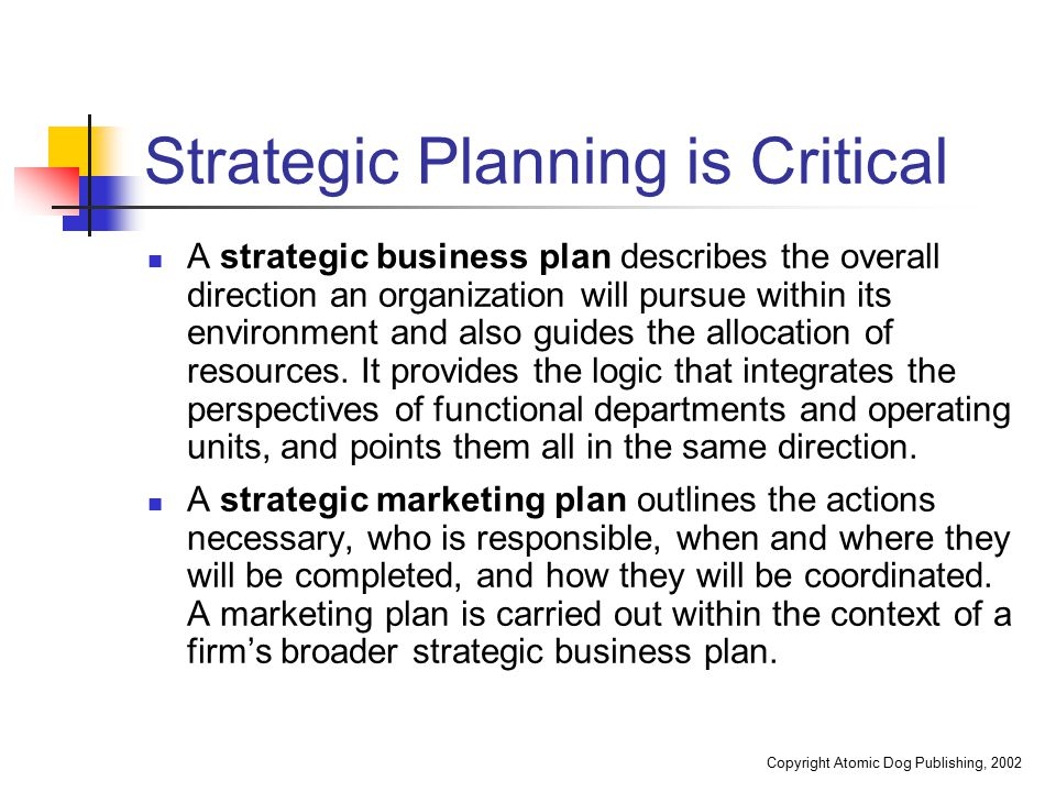 Strategic Planning is Critical
