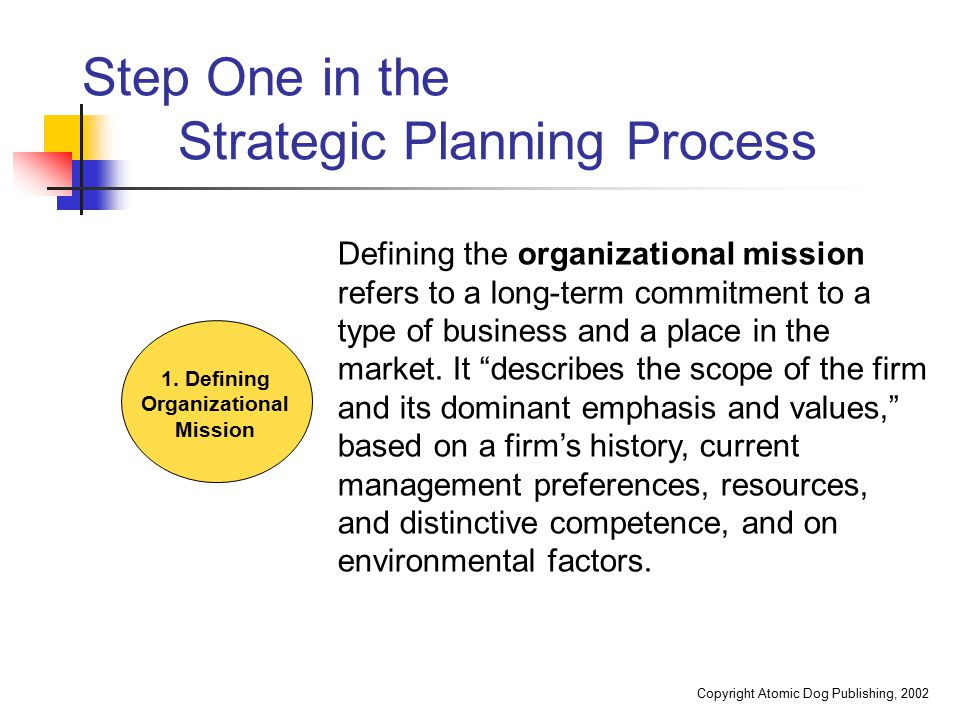 Step One in the Strategic Planning Process