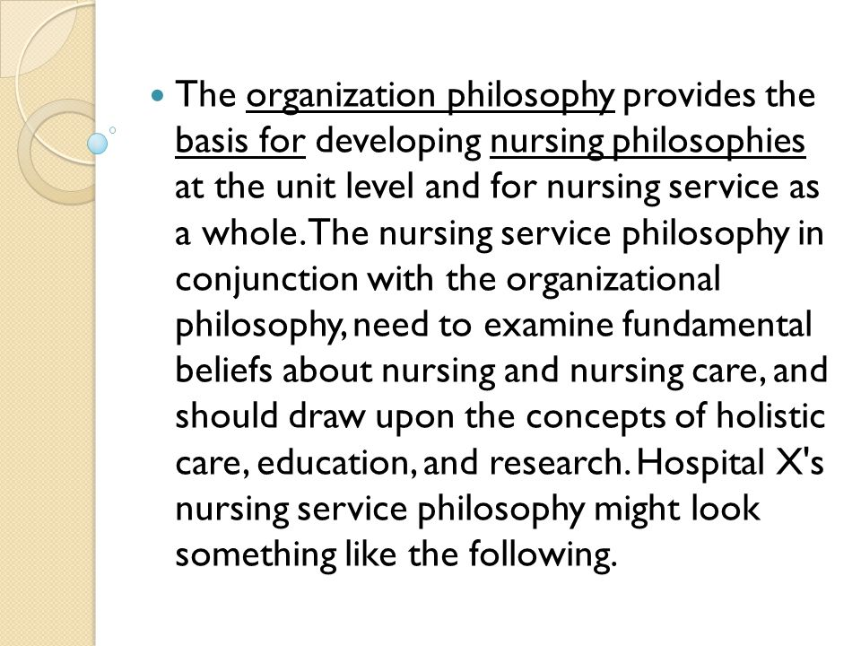 individual nursing philosophy Nursing is a profession that is involved with the care of the individual and the  health of the community we believe that the essence of nursing is caring for the.