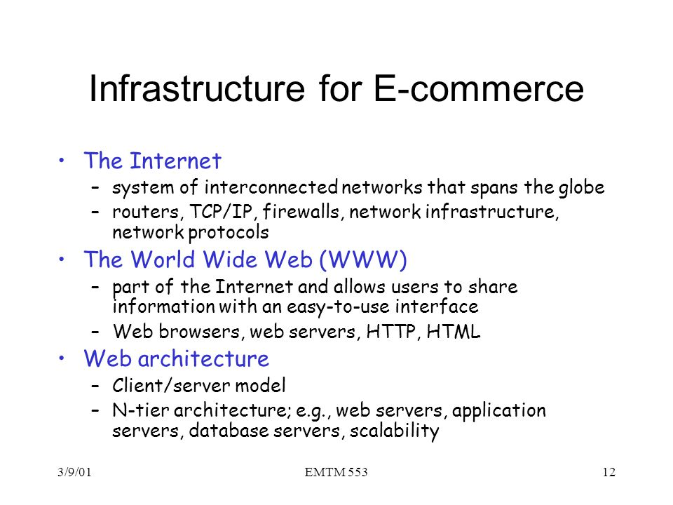 Infrastructure for E-commerce