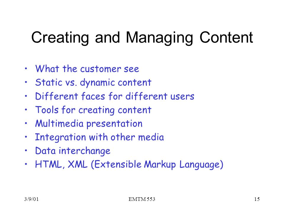 Creating and Managing Content
