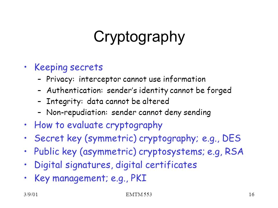 Cryptography Keeping secrets How to evaluate cryptography
