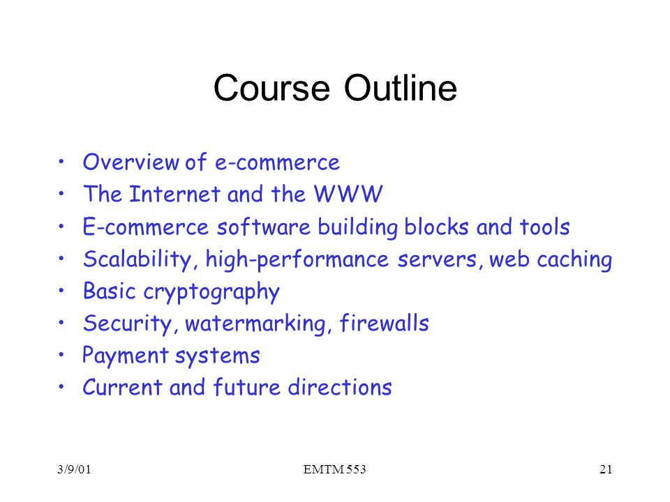 Course Outline Overview of e-commerce The Internet and the WWW
