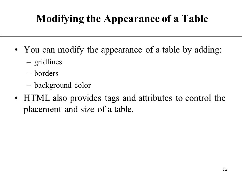 Using html tables ppt video online download for Table tag attributes in html