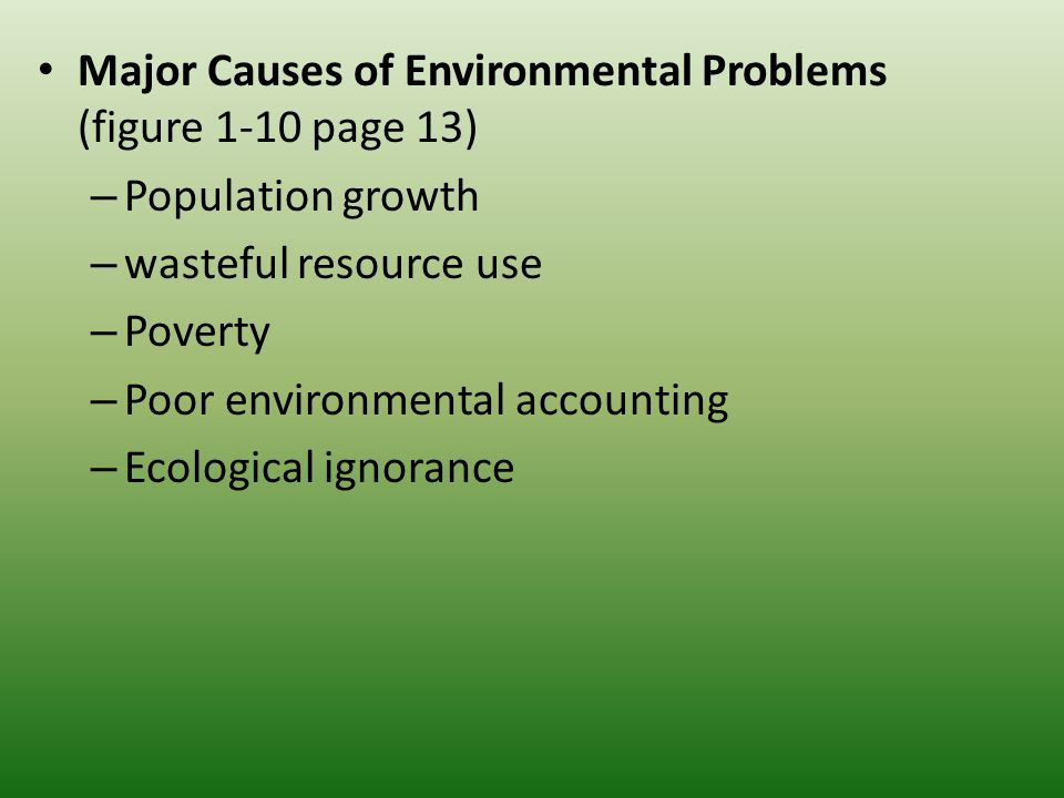 causes of environmental problems Probably the most serious of environmental problems we face as humans is  overpopulation people are  biodiversity another problem we face is the lack of  biodiversity  global warming effects and causes: a top 10 list.