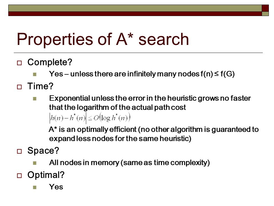 Properties of A* search