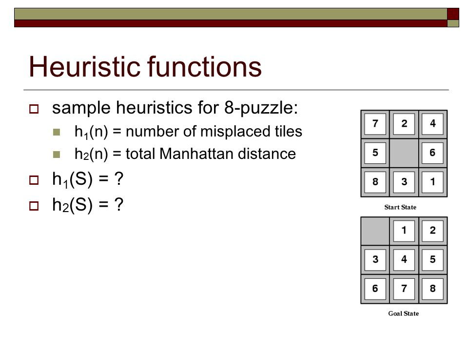 Heuristic functions sample heuristics for 8-puzzle: h1(S) =