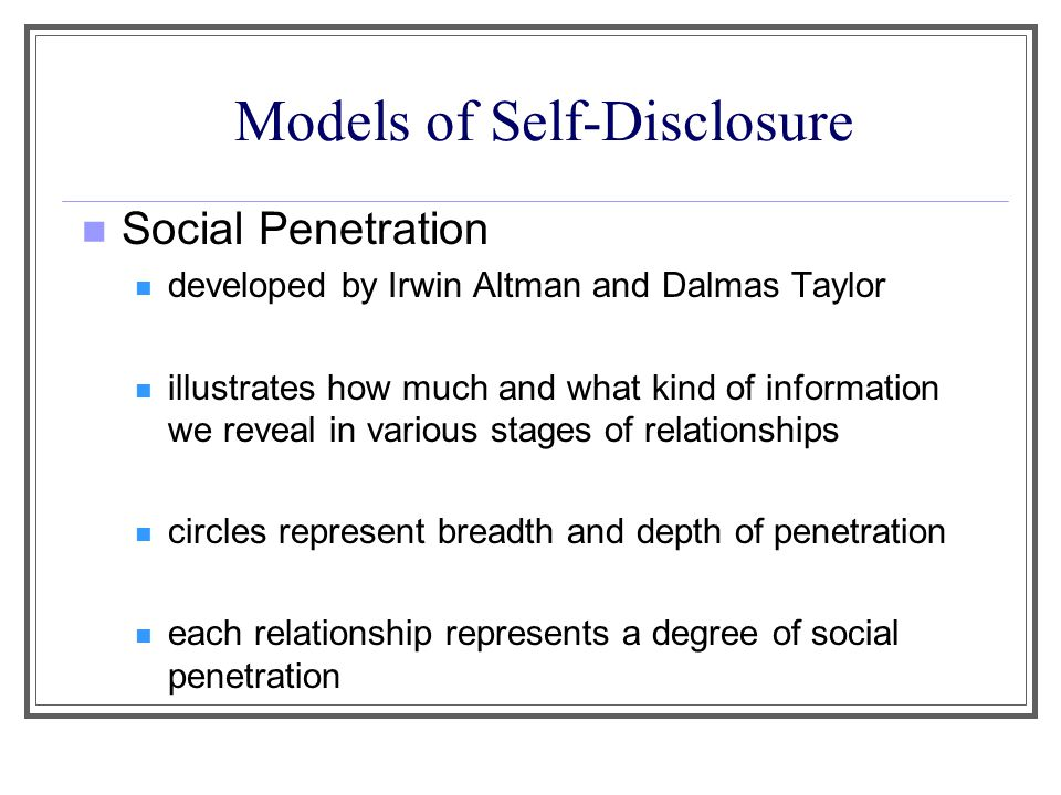 interpersonal communication self disclosure essay Self-disclosure is a process of communication by which one person reveals  information about  too rapid, too personal disclosure creates an imbalance in a  relationship that can be discomfiting this gradual process varies from  relationship to.