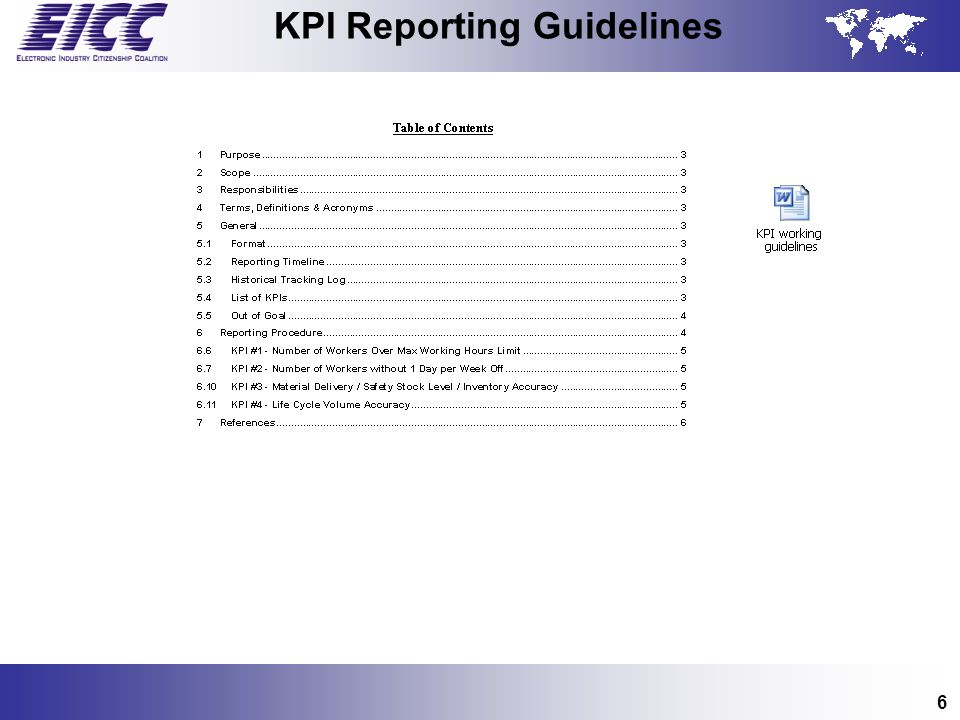 KPI Reporting Guidelines
