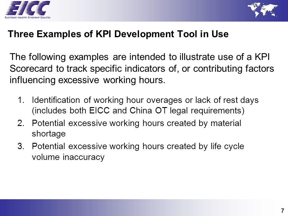 Three Examples of KPI Development Tool in Use