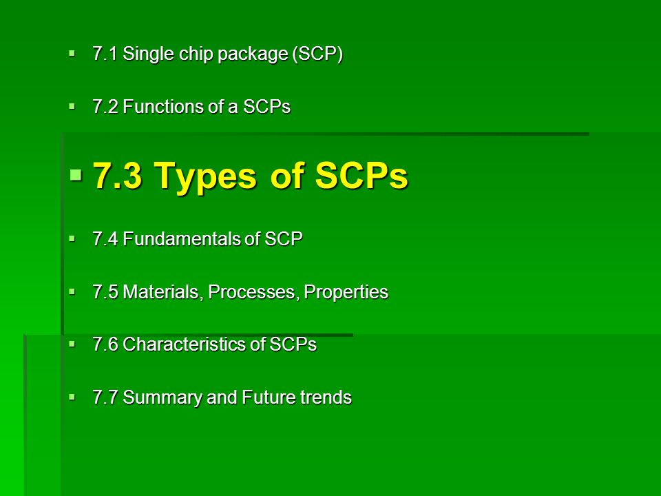 7.3 Types of SCPs 7.1 Single chip package (SCP)
