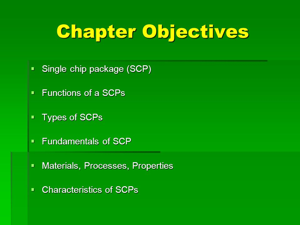 Chapter Objectives Single chip package (SCP) Functions of a SCPs
