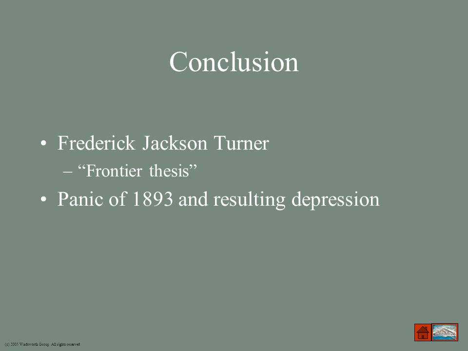turner thesis summary Historian frederick jackson turner presented this paper to a special meeting of the american historical association at the 1893 world's columbian exposition in.