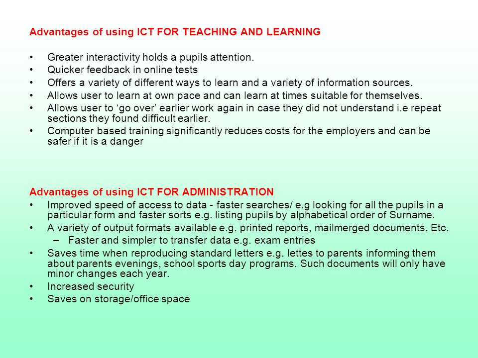 the disadvantages of ict essay This article discusses the advantages and disadvantages of using information  and communication technology (ict) as a mediating artefact in.