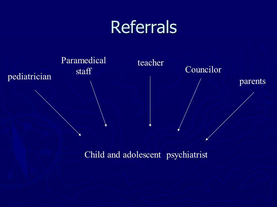 Referrals Paramedical staff teacher Councilor pediatrician parents