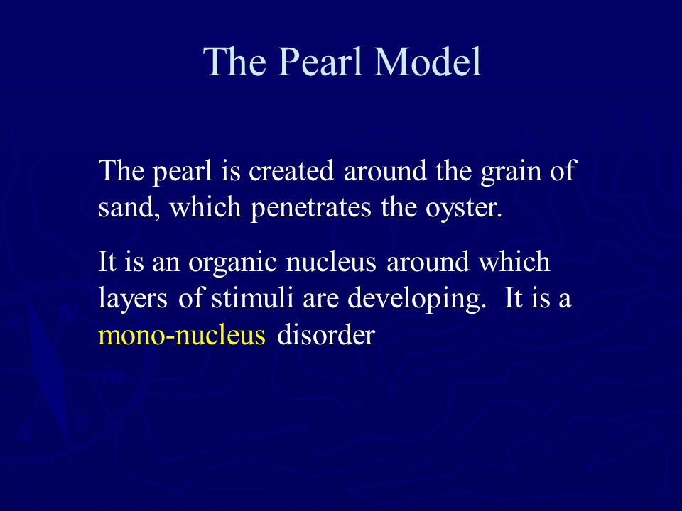 The Pearl Model The pearl is created around the grain of sand, which penetrates the oyster.