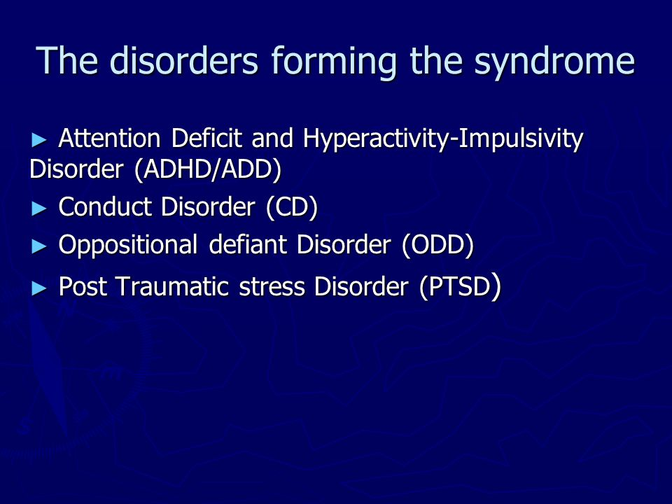 The disorders forming the syndrome