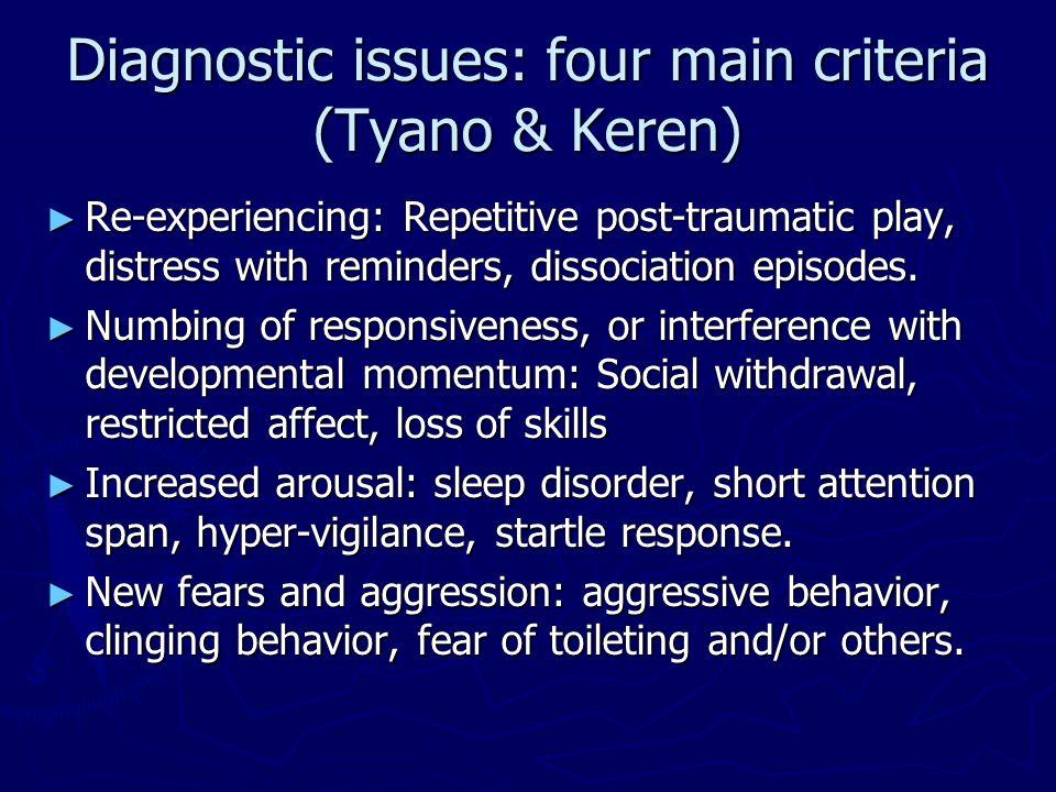 Diagnostic issues: four main criteria (Tyano & Keren)