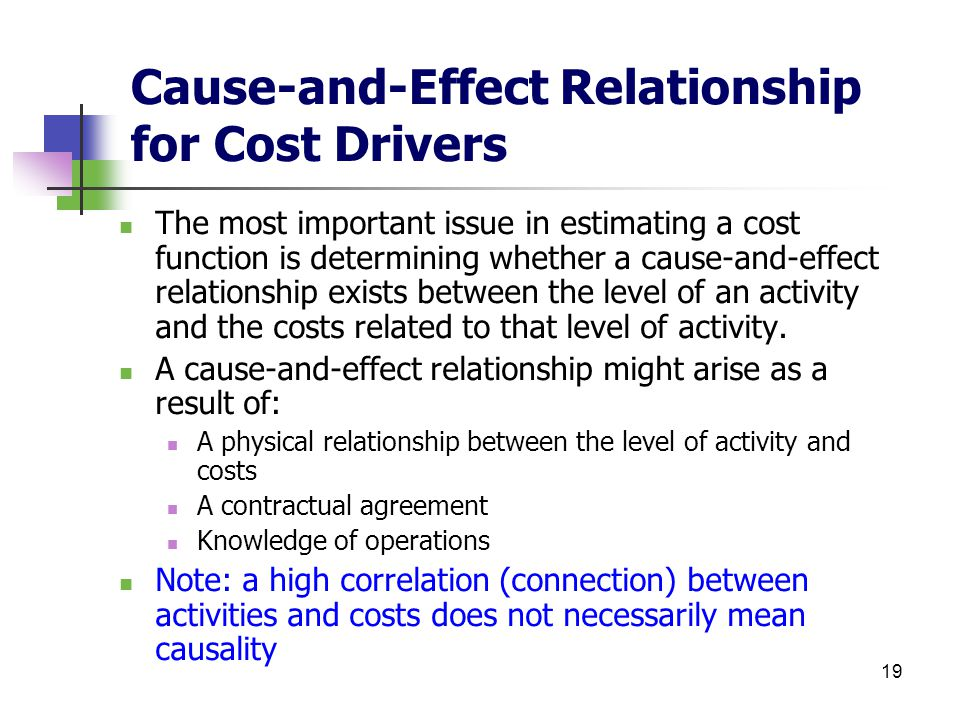 cause and effect accounting Cause & effect analysis is a diagram-based technique that helps you identify all of the likely causes of the problems you're facing.