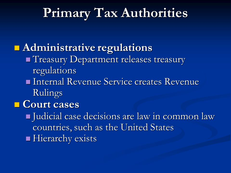 Primary Tax Authorities