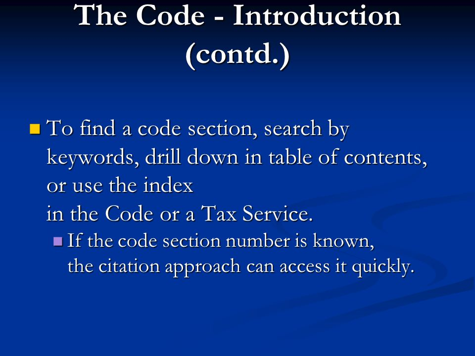 The Code - Introduction (contd.)