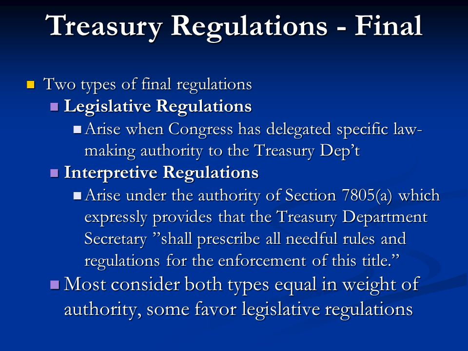 Treasury Regulations - Final