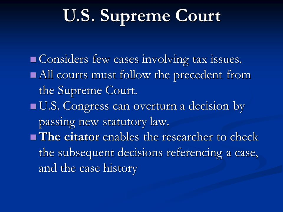 U.S. Supreme Court Considers few cases involving tax issues.