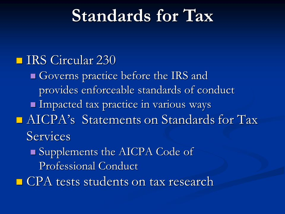 Standards for Tax IRS Circular 230