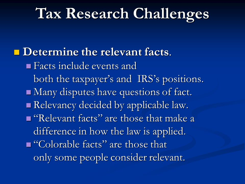 Tax Research Challenges