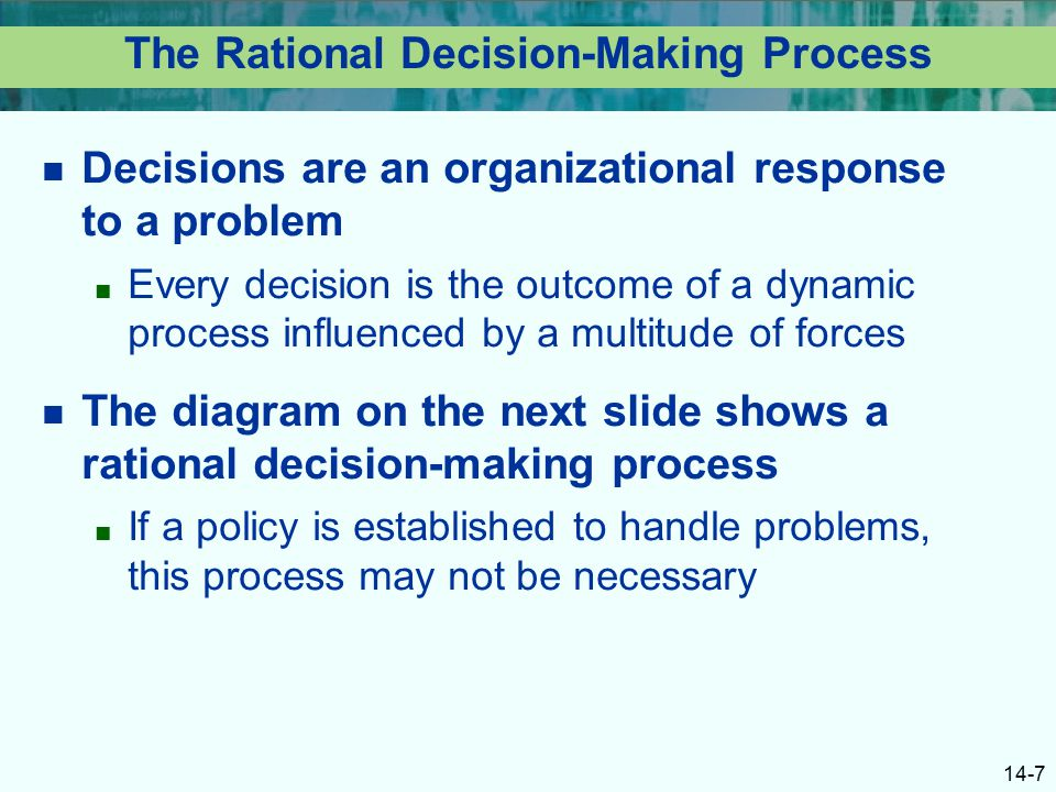 barriers in application of rational decision